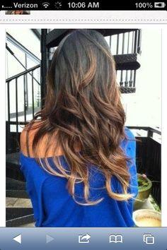 Brown hair with ombré highlights