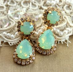 Swarovski Mint Seafoam chandelier earrings, bridal jewelry - 14k gold plated earrings real swarovski rhinestones.