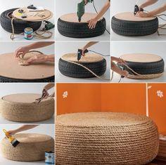 faire un pouf en utilisant un pneu recyclé