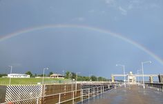 A rainbow spans over the J.T. Myers Locks and Dam project on the Ohio River at Mount Vernon, Indiana. (USACE photo by John Dike)