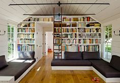 love the built in couches/beds/bookshelves. tiny house on sauvie island