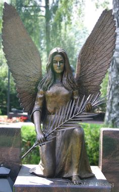 """Angel"" (2008), Photographed by Anne-Marie Bokslag, Hietaniemi Cemetery, Töölö district of Helsinki, Finland. #angels"