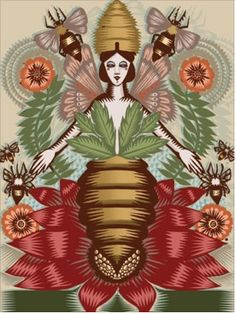 'Austeja' (Lithuanian bee goddess) by illustrator Q. Cassetti. I think it would look great as a felted tapestry.