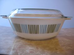 Vintage Pyrex Atomic Barcode Oven Dish - With Lid - JAJ Pyrex - Blue and Green 'Matchmaker'. £8.00, via Etsy.