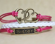 SISTER~ Handmade Bracelet Pink and White Leather Bracelet Multilayer Bracelet Intertwined Heart and Sister Charm Bracelet ilovecheesygrits