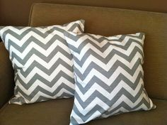 grey and YELLOW chevron pillows * make for throw pillows