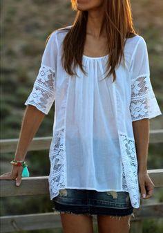 White Patchwork Lace Hollow-out Round Neck Fashion Chiffon Blouse