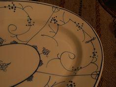 Stort gammelt ovalt fat - Egersund Stråmønster