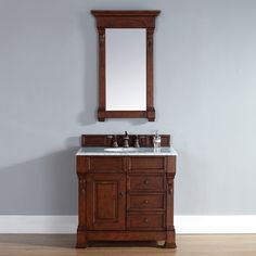 "James Martin 36"" Brookfield Traditional Single Sink Bathroom Vanity w/Drawers, Warm Cherry 147-114-5586 at DiscountBathroomVanities.com"