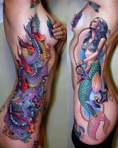 Our mermaid tattoo collection is perfect for you, if you wish to express your love for the sea and its depth! Mermaid tattoo designs are best for lower back, shoulder blade and back. Latest Tattoos, Great Tattoos, Beautiful Tattoos, Body Art Tattoos, New Tattoos, Tatoos, Awesome Tattoos, Dragon Tattoos, Torso Tattoos