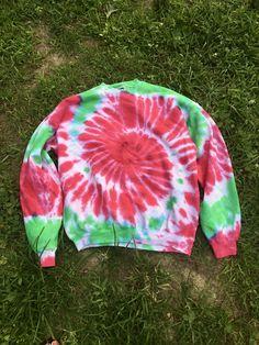 XL spiral pink and green sweatshirt! 90% cotton, in my #etsy shop: Tie Dye Sweatshirt, Large Tie Dye, Spiral Tie dye, Pink and Green Tie Dye http://etsy.me/2AShkBD #clothing #pink #green #tiedyesweatshirt #tiedyeshirt #spiraltiedye #pinktiedye #greentiedye #handmadetiedye