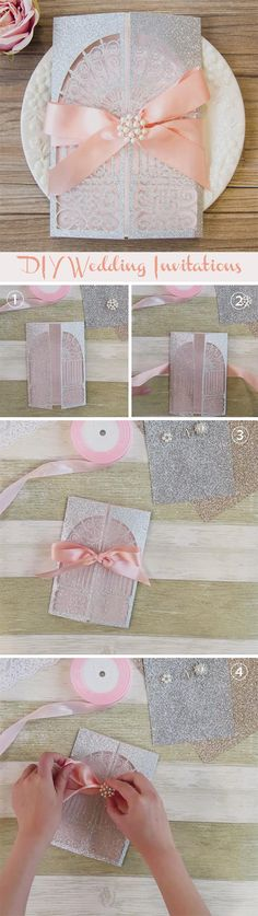 How to make a chic blush and silver wedding invitation with simple silver invite