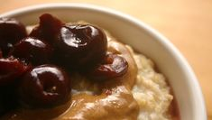 Steel-cut oatmeal with cherry and almond-butter swirl. #FastMetabolismDiet Phase 3 breakfast