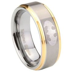 Tungsten Carbide Batman 14K Gold IP Two Tone Engraved Ring ( 5MM, 8MM, 10MM ) Size 4 to 15:Amazon:Jewelry