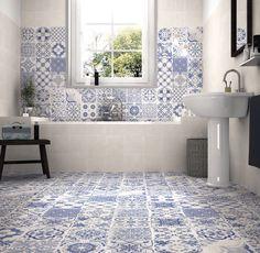 Felice Blue 44,2x44,2 cm är en otroligt vacker serie från Lhådös kakel inspirerad från franska Provence. Serien passar perfekt i badrum, kök och hall.