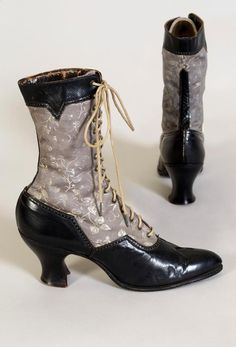 67ccef655a56 1915 - Boots - Black leather and grey twill Schmuck, Vintage Schuhe,  Vintage Outfits