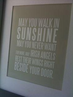 IRISH BLESSING - May You Walk In Sunshine - Khaki. $15.00, via Etsy.