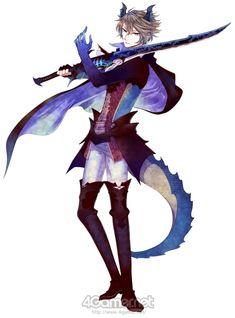 Demonboy brownhair blueeyes weapon horn