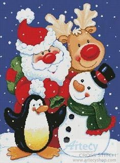 Christmas Pals - Christmas cross stitch pattern designed by Tereena Clarke. Category: Santa.