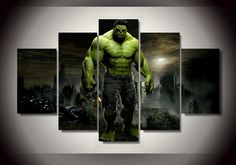 Free Shipping 5 Panel Framed Printed Hulk Movie Group Painting children's room decor print poster picture canvas metal wall art
