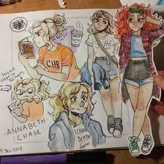 Meghan's adventures in watercolour ft. Annabeth and Rachel. I haven't tried colouring with watercolours for literally two years but it's pretty fun! (Rachel looks just like Mallory helllppp) Percy Jackson Fan Art, Percy Jackson Memes, Percy Jackson Fandom, Character Inspiration, Character Art, Character Design, Arte Indie, Art Manga, Arte Sketchbook