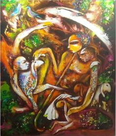 Relation | Ranjit Kumar The painting is set in night ambience and is adding on to the protective and intimate relationship of the mother and child. The artist wants to bring out the motherhood that human, animal and bird possess for their children, making it a universal emotion to connect with. https://www.mivaarts.com/relation #Art #homeDecor #wallPainting #IncrediblePiece #NoEmptyWalls #MivaArts
