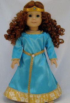 American Girl sized Blue Princess Merida Dress as in the Movie Brave. $32.00, via Etsy.