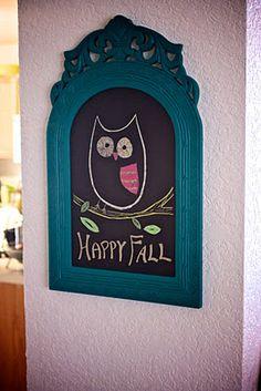 DIY chalkboard.  Fall chalkboard art! :)