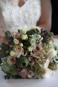 Flower Design Events: Beautiful Wedding Bouquet for a Vintage Wedding Day at The Alma Inn in Laneshawbridge