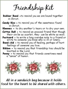 Friendship Kit - love this idea for women's ministry devotion or lesson…