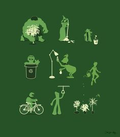 Some green characters from our cartoon past doing their best to fulfill their duty by being green! Cool!