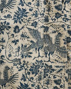 Dyed with indigo - Dutch century cotton coat, Hindeloopen Motifs Textiles, Textile Prints, Textile Patterns, Textile Art, Print Patterns, Color Patterns, Fabric Art, Fabric Design, Pattern Design