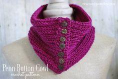 Penn Button Cowl - Free Crochet Pattern Tutorial by Rescued Paw Designs #crochet #lionbrandyarn #freepattern #crochetscarf