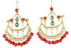 Chandelier Coral Earrings