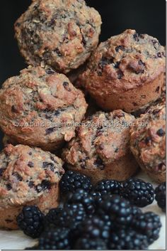 Healthy Blackberry Muffins - guess who just went blackberry picking and will be making these....