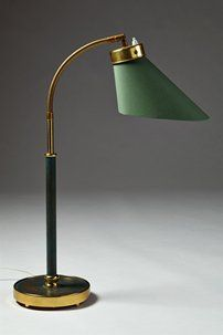 Table lamp designed by Josef Frank for Svenskt Tenn, Sweden. - Lacquered brass, polished brass and cotton. Lamp Design, Mid Century Lighting, Table Lamp Lighting, Floor Lamp, Lamp, Brass Table Lamps, Creative Lighting, Best Desk Lamp, Cool Lamps