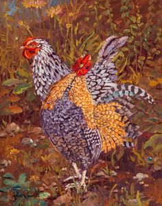 Chicken Play 11 x 14 Monmouth County, Red Bank, Fine Art Gallery, Contemporary Artists, Van Gogh, Sculptures, Birds, Noodle, Artwork