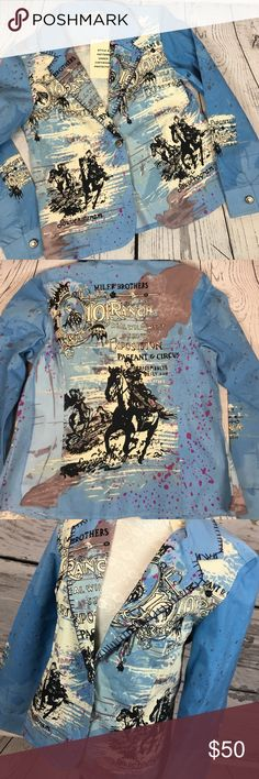 """ROD'S Western Wear Vintage Cowgirl Jacket Sz L ONE OF A KIND GEM!!!!!! A complete vintage BEAUTY right here!!! ROD'S Western Wear blue custom made women's jacket blazer. Featuring a pageant circus complete graphic on back & front. Blinged out with scattered sequins. You NEED this to pair with some killer cowboy boots!! Brand new with tags. Never worn. Women's Size Large. Smoke free home!!  Measurements (flat) Armpit to armpit: 18.5"""" Armpit to bottom: 13"""" Armpit to cuff: 19"""" Shoulder to…"""