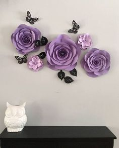 This large paper flower backdrop is perfect to add a colorful focal point you baby girl nursery. 5 flowers is included in this arrangement along with 3 butterflies. Flowers range between 6 to 14. Depending on how you arrange the flowers in this backdrop can cover about 36 of wall