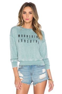 AMUSE SOCIETY Shine On Fleece Sweatshirt in Light Teal