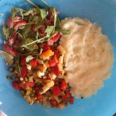 #Kartoffelbrei #Gemüse #Salat #Rucola #Tomaten #Möhren #Erbsen #Paprika #Spargel #Lauch