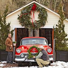 Don't forget your garage or shed when decorating for Christmas. It helps to have a red car too!