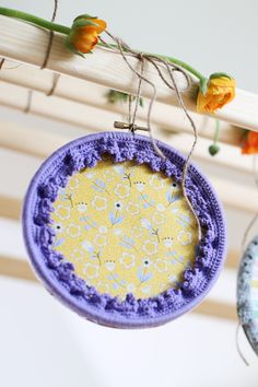 Crochet embroidery hoop art frame