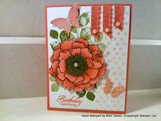 Blended Bloom Calypso Coral by Barb Tobias, This card uses the kinda eclectic and blended bloom stampsets. Got this idea from pinterest. I colored the flower with calypso coral markers and the dark brown is from the skin tone blendies.
