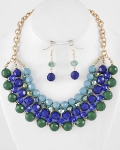 Gold Tone / Blue & Green / Acrylic & Glass Crystal / Lead Compliant / Necklace & Fish Hook Earring Set