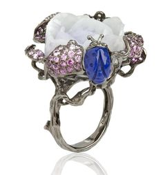 Fantasie 18ct white gold, diamonds, sapphire, garnet and pearl Retiring Rose ring by Wendy Yue for Annoushka £7,600