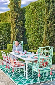 Dramatic design, theatrical flair and a touch of playfulness-our Ibis Isle collection was exclusively designed for Frontgate by Carleton Varney. At center stage is a latticework motif, especially notable on highback dining chairs and gracing table legs.  | Frontgate: Live Beautifully Outdoors