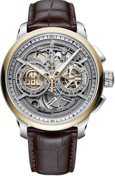 Maurice Lacroix Watch Masterpiece Skeleton Chronograph  bracelet strap alligator steel case 45mm  mens automatic
