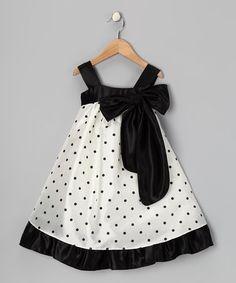 Look what I found on #zulily! Black Polka Dot Bow Dress - Toddler & Girls #zulilyfinds