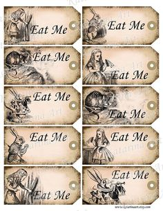 Alice in Wonderland printable gift Hang Tag. Whimsical eat me cheshire cat white rabbit labels stickers. Digital Collage Sheet. k2102
